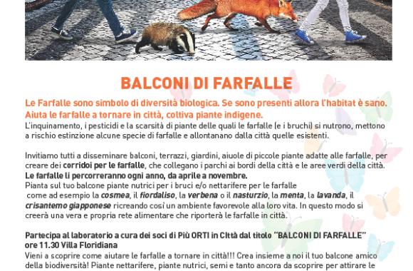 Laboratorio Piuortiicitta dal titolo BALCONI DI FARFALLE ore 11.30 Villa Floridiana